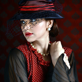 LADY IN RED by Michael Tamura - People Portraits of Women