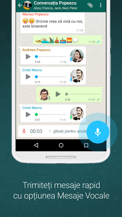 WhatsApp Messenger– captură de ecran
