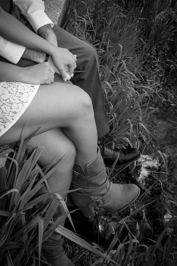 Sitting With You by Emily Schmidt - People Couples ( black and white, legs, boots, engagement, couples,  )