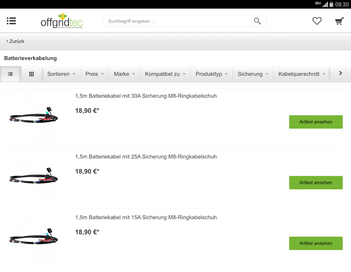 Offgridtec Onlineshop- screenshot