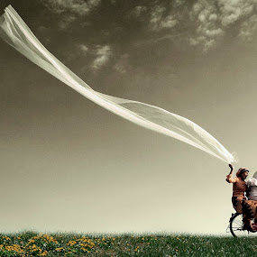 It's our wedding day.... by Amril Nuryan - Wedding Getting Ready ( sky, bike, grass, happy, wedding, freeze, composition, bicycle )