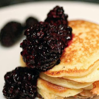 Meyer Lemon Ricotta Pancakes with Blackberry Compote