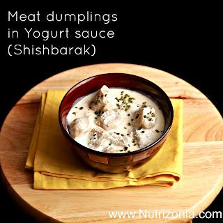Meat dumplings in Yogurt sauce (Shishbarak)