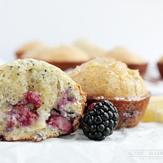 Blackberry Muffins with Lemon Honey Butter