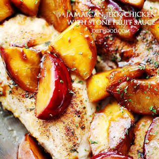 Jamaican Jerk Chicken with Stone Fruit Sauce.