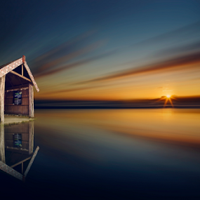 Lonely hut and the sunset over a beach by Anupam Hatui - Landscapes Sunsets & Sunrises ( hut, colors, sunset, beach, landscape, lonely, golden hour, impressionism,  )