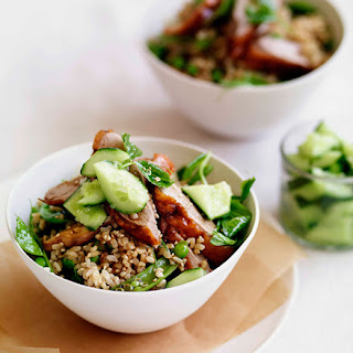 Chinese Roast Duck With Brown Rice, Peas And Cucumber.