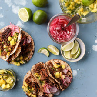 Slow Cooker Barbacoa Beef Tacos with Pickled Onions and Pineapple Pico Recipe