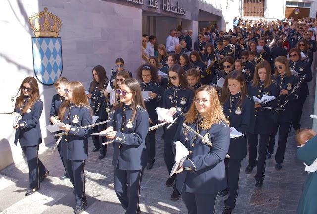 La Banda Municipal de Macael en la procesión de ayer.
