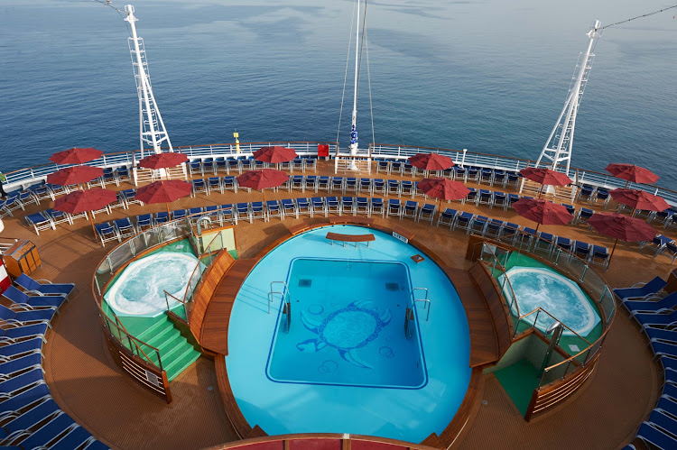Choose the spa or the pool for a quick dip — Carnival Vista offers many activities poolside.