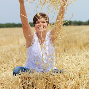 Happiness  by Mariesa Taljaard - People Portraits of Women ( happiness, wheat, portrait, girl, fields, smile,  )