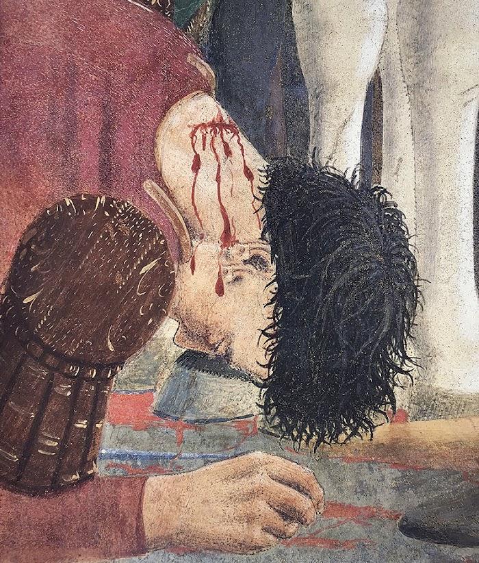 Piero della Francesca, Le Storie della Vera Croce, Battaglia di Eraclio e Cosroè, (particolare il ferito alla nuca che si accascia sotto gli zoccoli del cavallo stesso)