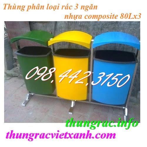 Thùng phân loại rác 3 ngăn có mái che