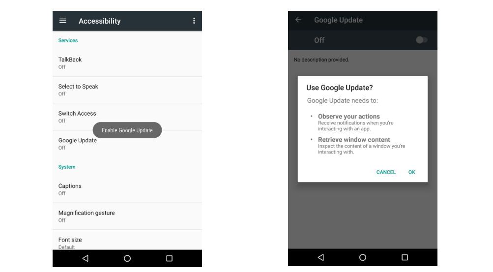 Screenshot of Android Accessibility Settings with Google Updates Seeking permission