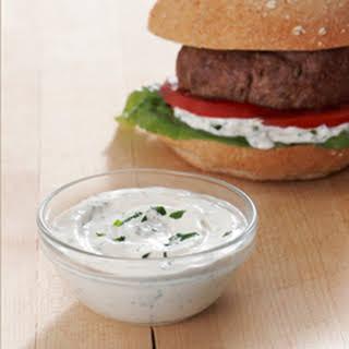 Best Ever Juicy Burger with Creamy Yogurt & Herb Sauce.