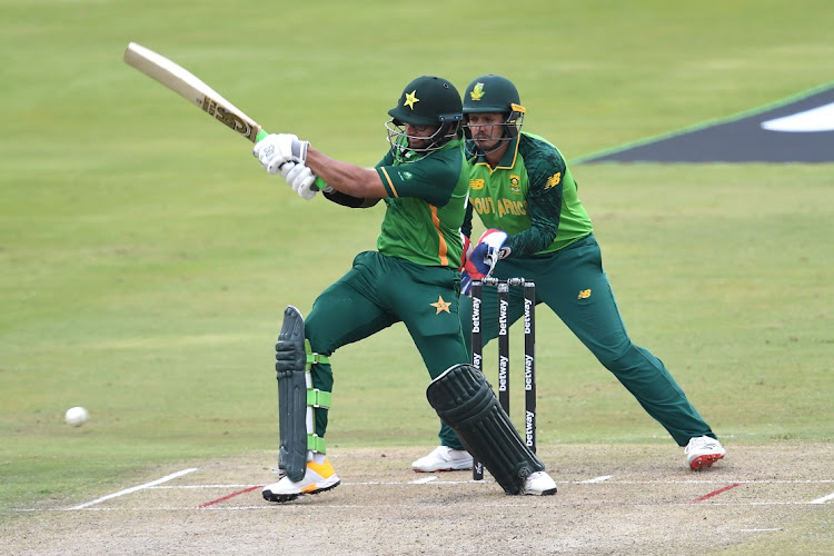 Imam-ul-Haq of Pakistan bats in the first ODI against South Africa at SuperSport Park in Pretoria on April 2 2021.