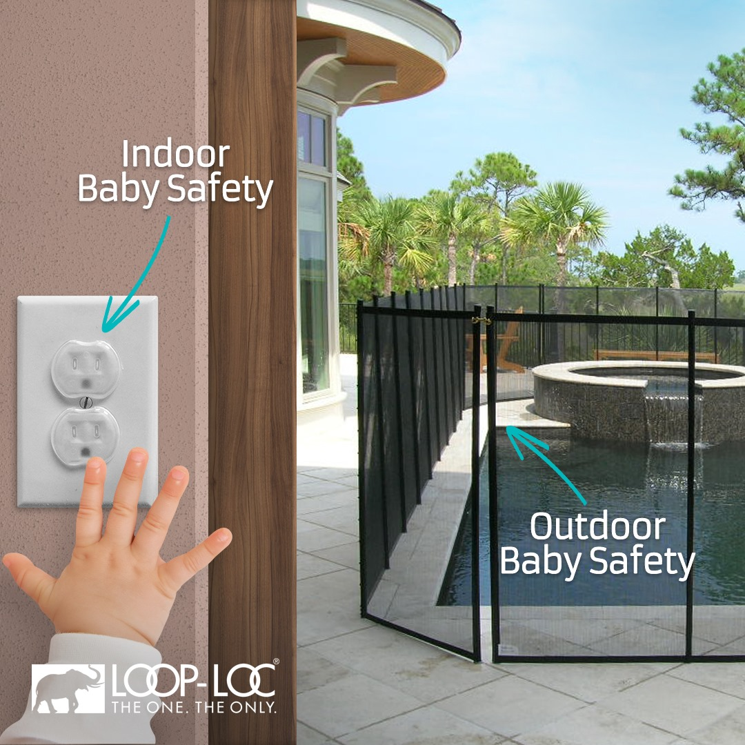 Outdoor baby safety is just as important as indoor baby safety, as shown with a pool fence and an outlet cover.