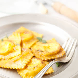 Pan Fried Ravioli with Brown Butter Herb Sauce.