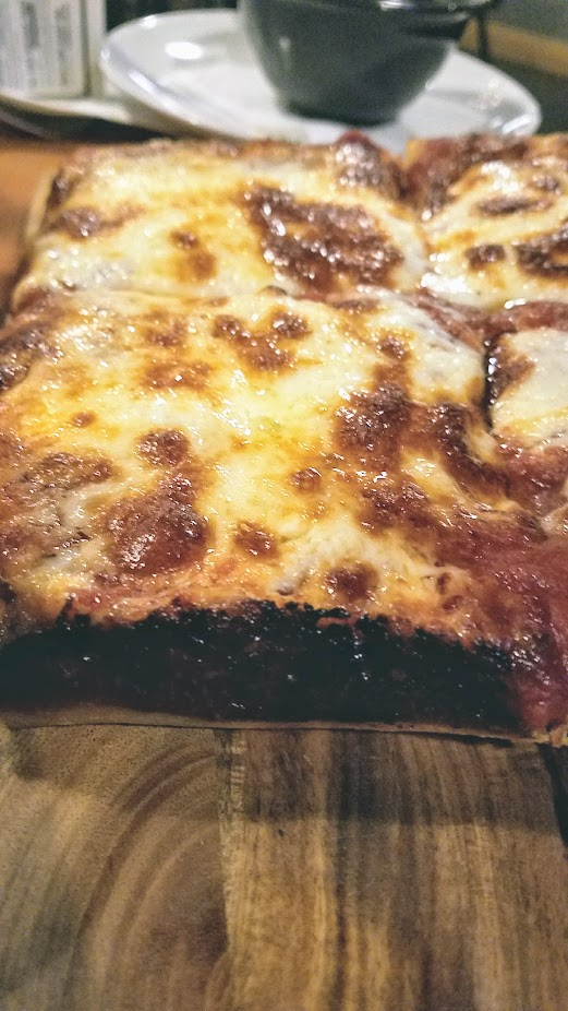 Ex Novo 8 inch personal Detroit Pizza with crazy sauce and brick cheese, add up to 3 additional toppings.