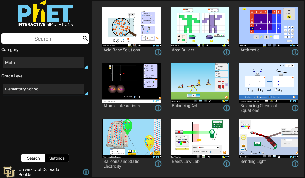 PhET Simulations- screenshot