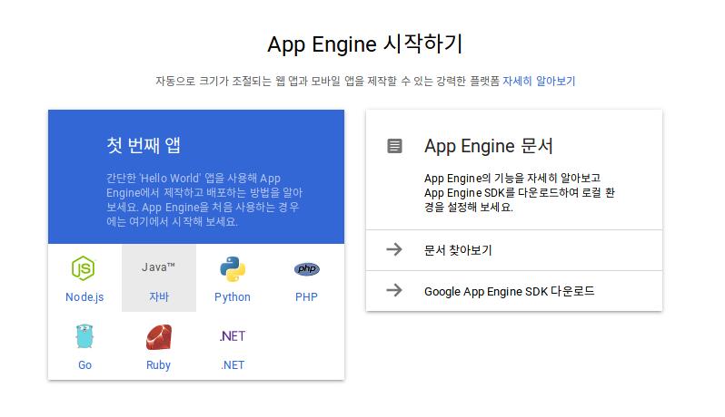 웹 엔진 언어 선택