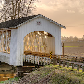 Gilkey Covered Bridge by Craig Pifer - Buildings & Architecture Bridges & Suspended Structures ( oregon, covered bridge, sunset, bridge, gilkey )