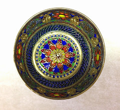 Photo: Plique-à-Jour Enamels by Diane Echnoz Almeyda - Lyres and Medallions Vessel (Bowl Form) - Fine Silver, Plique-à-Jour Enamels - Approximate size 38mm (h) x 67mm (diam) - $4500.00 US View looking down to bottom of vessel.
