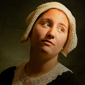 Rembrandt style portrait of a girl. by Anton Donev - People Portraits of Women ( face, person, old, collar, retro, beauty, people, renaissance, girl, ancient, style, painterly, woman, dutch, fine, closeup, lace, oil painted, vintage, art, beautiful, young, portrait, master, rembrandt, oil imitation, female, victorian, antique )