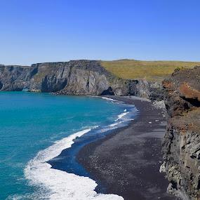 Black Sand by Santford Overton - Landscapes Waterscapes ( landscapes, sky, cliffs, mountains, waterscapes, nature, water, adventure, seas, sand, ocean, blue, light, beach, photography )