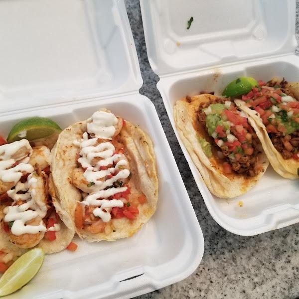 Shrimp and al pastor tacos- they use corn tortillas. So flavorful