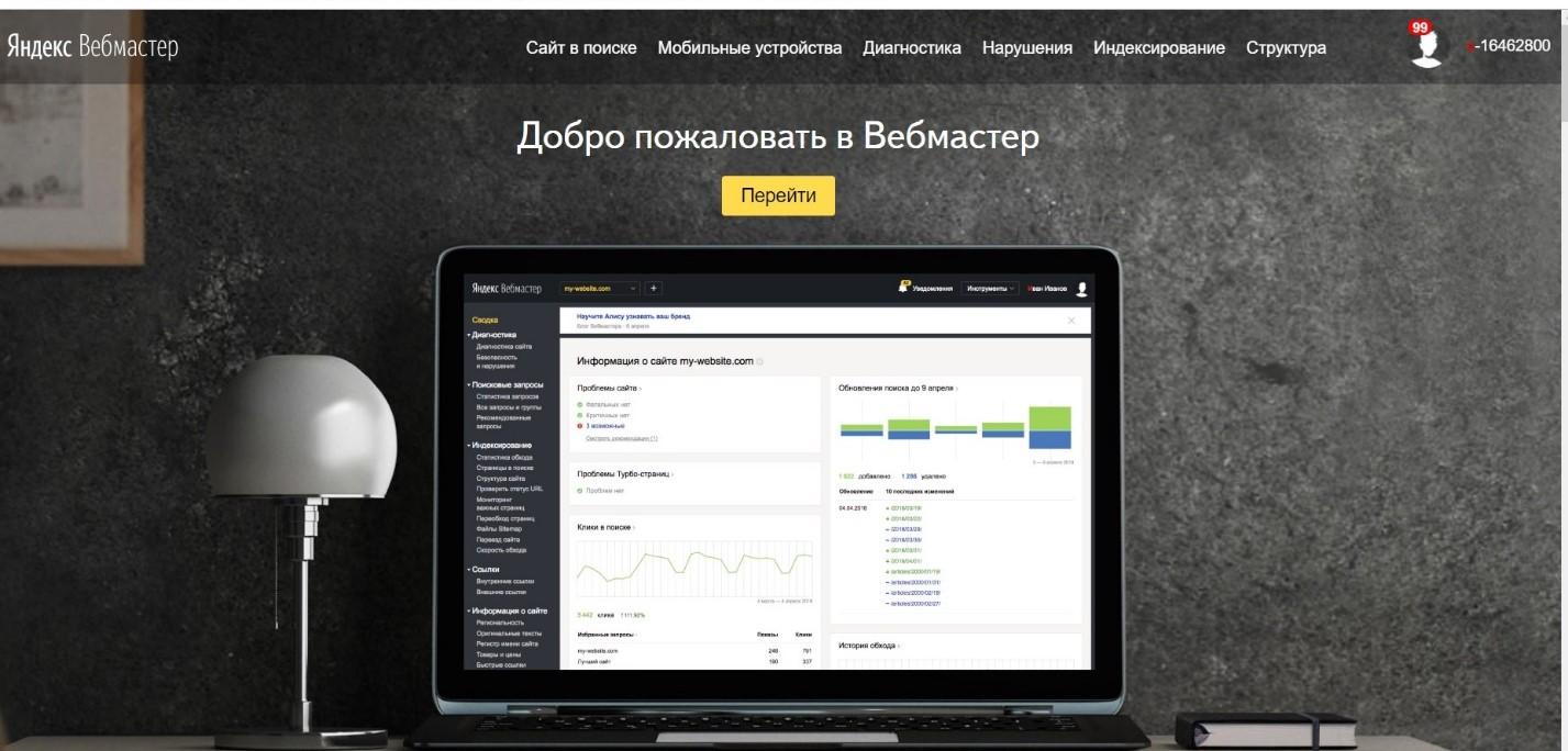 Как выглядит страница Яндекс.Вебмастер после регистрации