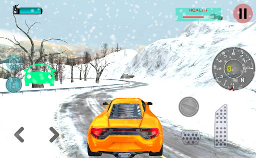 雪の中で車を運転
