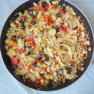 One Pot Spaghetti Alla Puttanesca with Chickpeas & Artichoke Hearts.