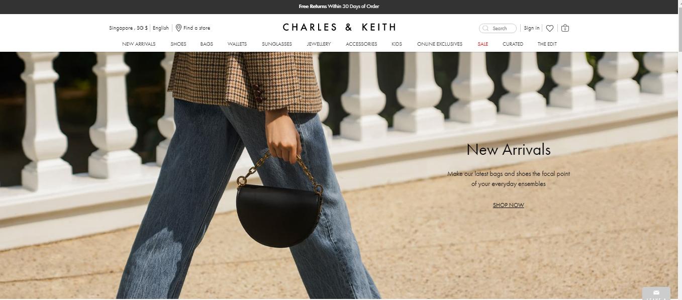 Charles and Keith's website homepage screenshot