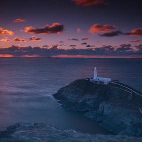 Sunset over South Stack by Vincent Yates - Landscapes Sunsets & Sunrises ( south stack, lighthouse, ocean, sunset, clouds, sea,  )