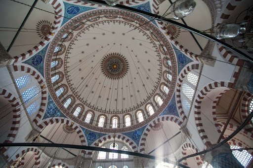 The cupola inside Rüstem Pasha Mosque, a 16th-century Ottoman mosque in the Tahtakale neighborhood of Istanbul.