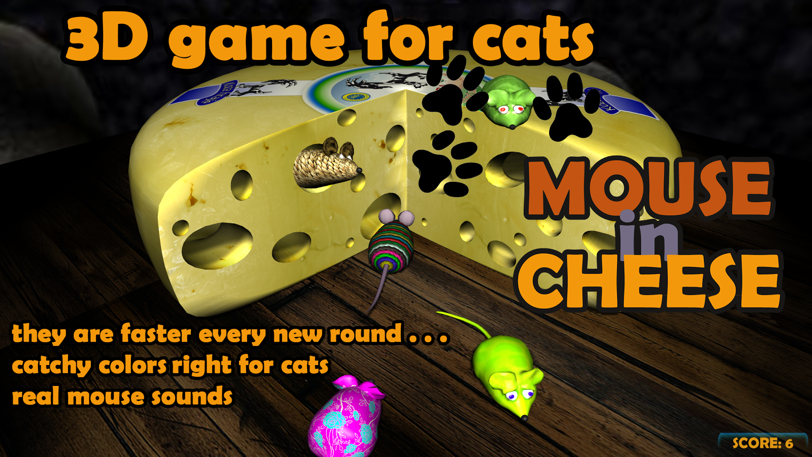 Mouse in Cheese: 3D game for cats- screenshot