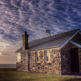 Guard House by Haavard Lien - Buildings & Architecture Public & Historical ( clouds, building, hdr, wales, cottage, clouds and sea, sea, sunshine, ocean, house )