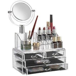 Organizator cosmetice cu oglinda, 4 sertare si 16 compartimente