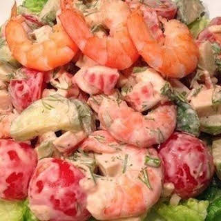 Salad With Cherry Tomatoes And Shrimp.