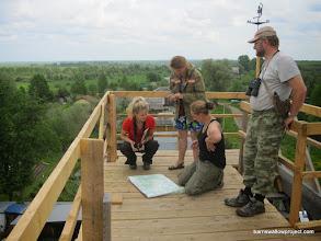 Photo: Some crane watchers show Liz the map of breeding areas