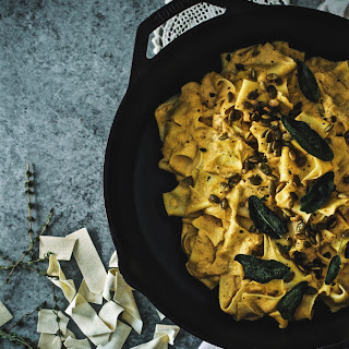Truffled Pumpkin Pappardelle Alfredo With Frizzled Sage.