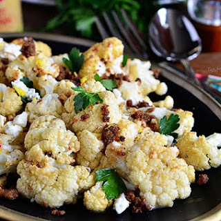 Roasted Cauliflower with Brown Butter & Garlic Crumbs