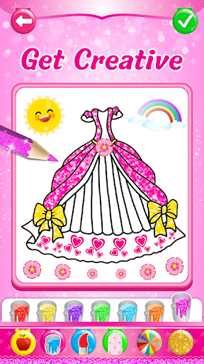 Glitter dress coloring and drawing book for Kids 4.2 screenshots 2