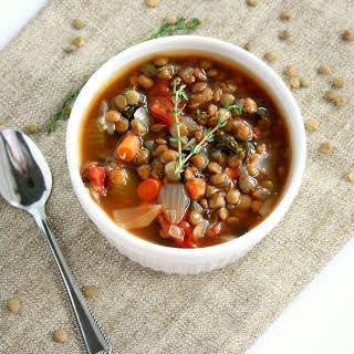Slow Cooker Kale, Lentil and Sausage Soup.
