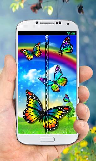 Rainbow Butterfly Zipper LS