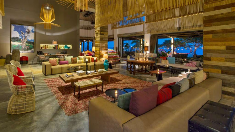 The tasteful, vibrant living room of the W Retreat & Spa in Vieques, Mexico (click to enlarge).