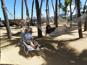 Photo: Brian and Judy relaxing in the Hilton's Hammocks.