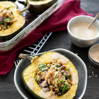 Farro-Stuffed Acorn Squash with Tahini Dressing