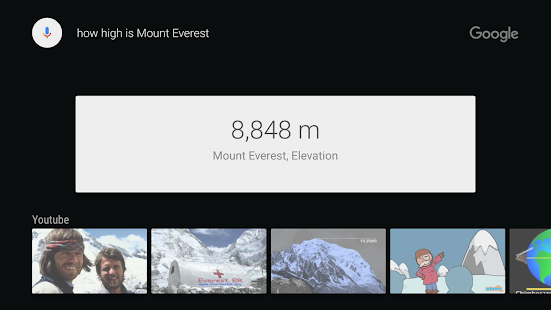 Google app for Android TV Capture d'écran